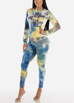 Yellow Tie Dye Hoodie & Pants (2 PCE SET)