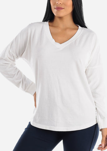 Image of Cotton Long Sleeve V Neck White Top
