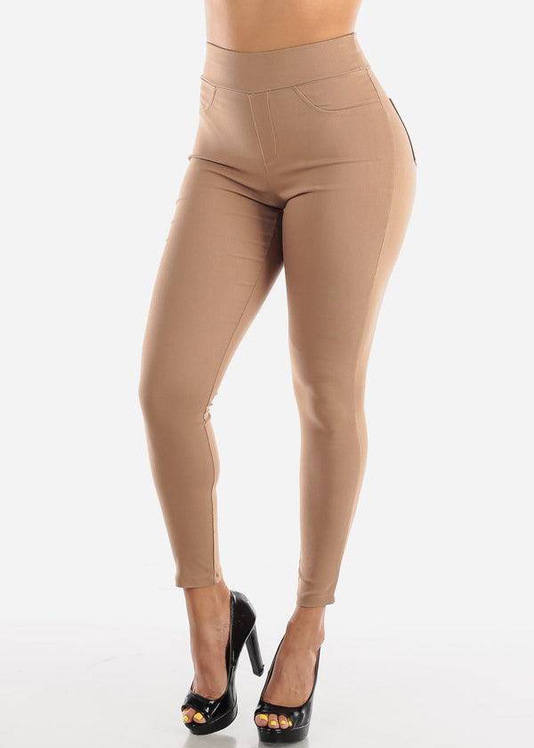 High Waisted Mocha Skinny Pants