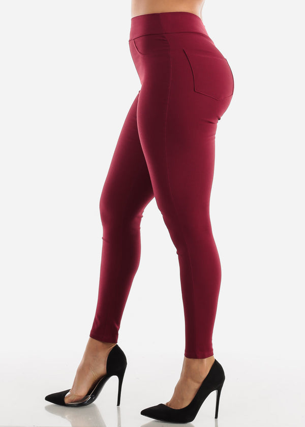 High Waisted Burgundy Skinny Pants