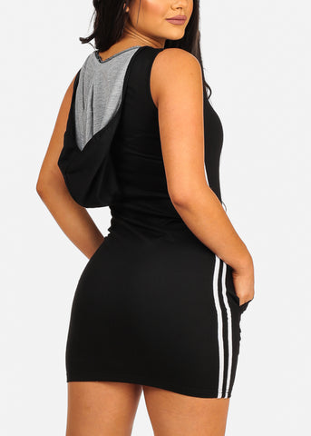 Sexy Casual Stripe Sides Bodycon Black Dress W Hood