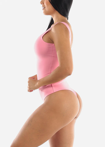 Pink Sleeveless Thong Bodysuit
