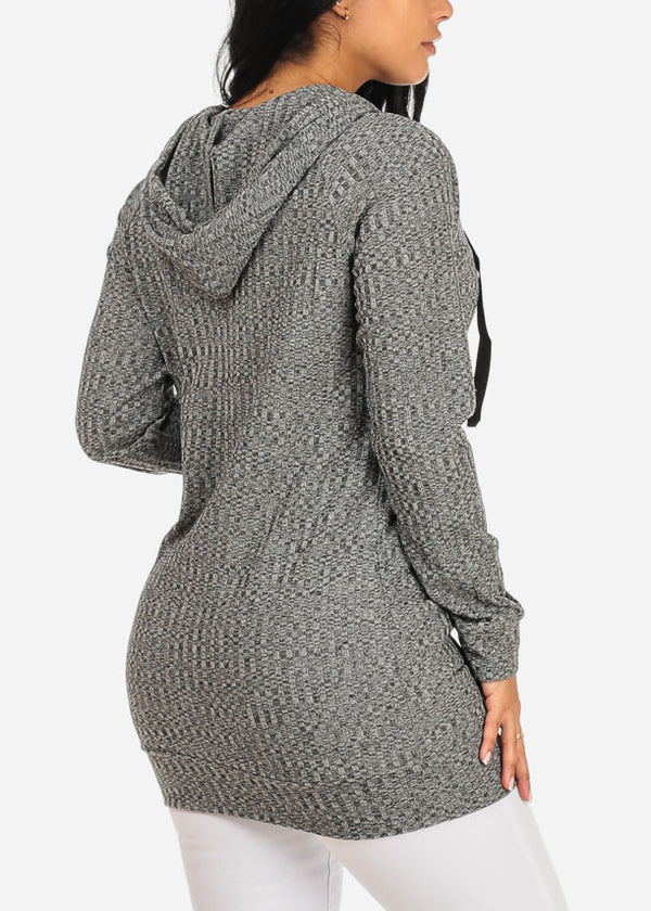Kangaroo Pocket Grey Tunic Top with hood
