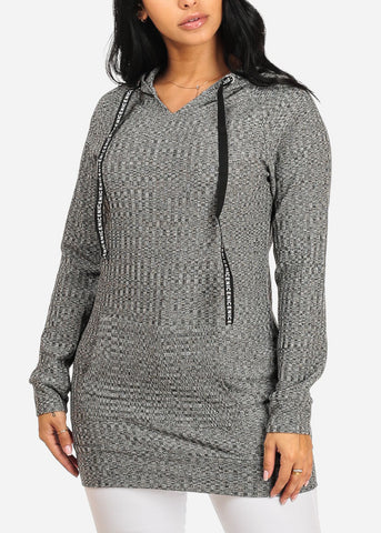 Cozy Long Sleeve Kangaroo Pocket Stretchy Knitted Grey Tunic Top W Hood
