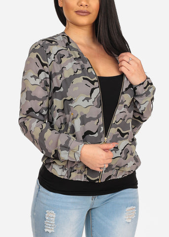 Image of Women's Lightweight Chiffon Trendy Army Camouflage Print Zip Up Jacket