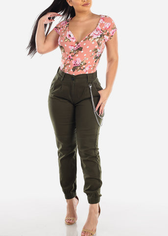 Image of Wrap Front Mauve Floral Top