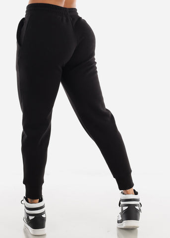 Image of Fleece Black Jogger Sweatpants