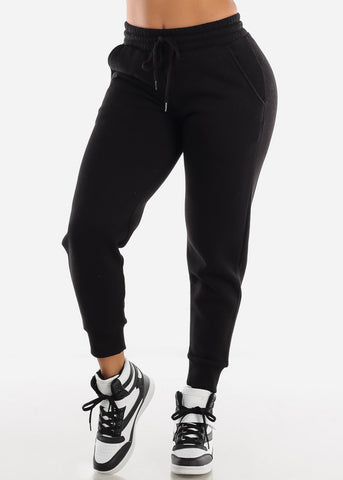 Fleece Black Jogger Sweatpants