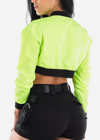Neon Green Windbreaker Cropped Jacket
