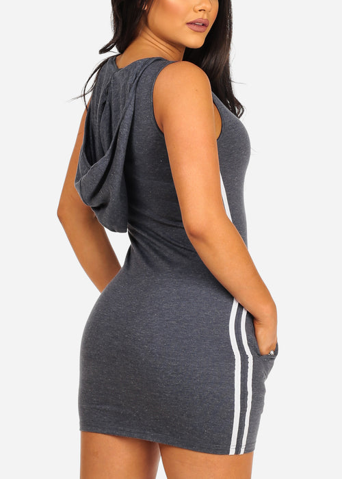 Sexy Casual Stripe Sides Bodycon Grey Dress W Hood