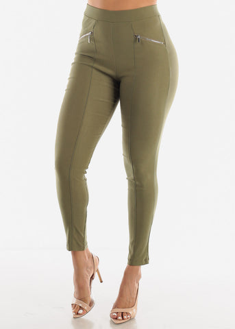Image of Skinny Olive Zipper Pants