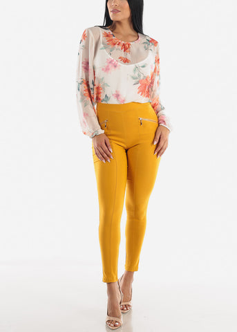 Image of Skinny Mustard Zipper Pants