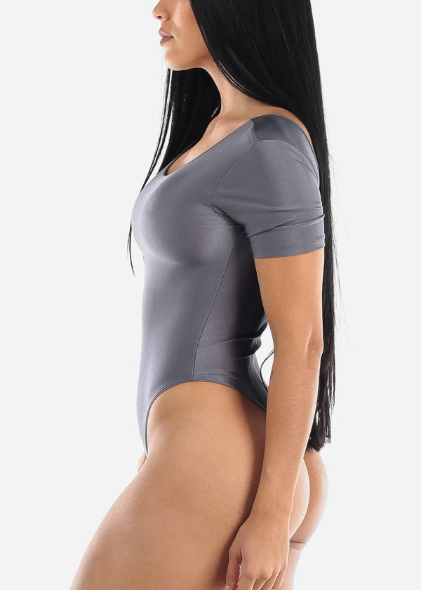 Sexy Satin dark Grey Bodysuit