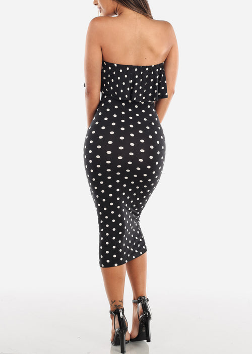 Women's Junior Ladies Cute Casual Must Have Tight Fitted Bodycon Strapless Ruffled Detail Polka Dot Midi Bodycon Stretchy Black Dress
