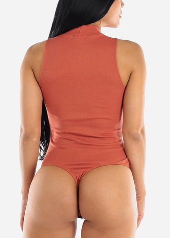 Mock Neck Brick Ribbed Bodysuit
