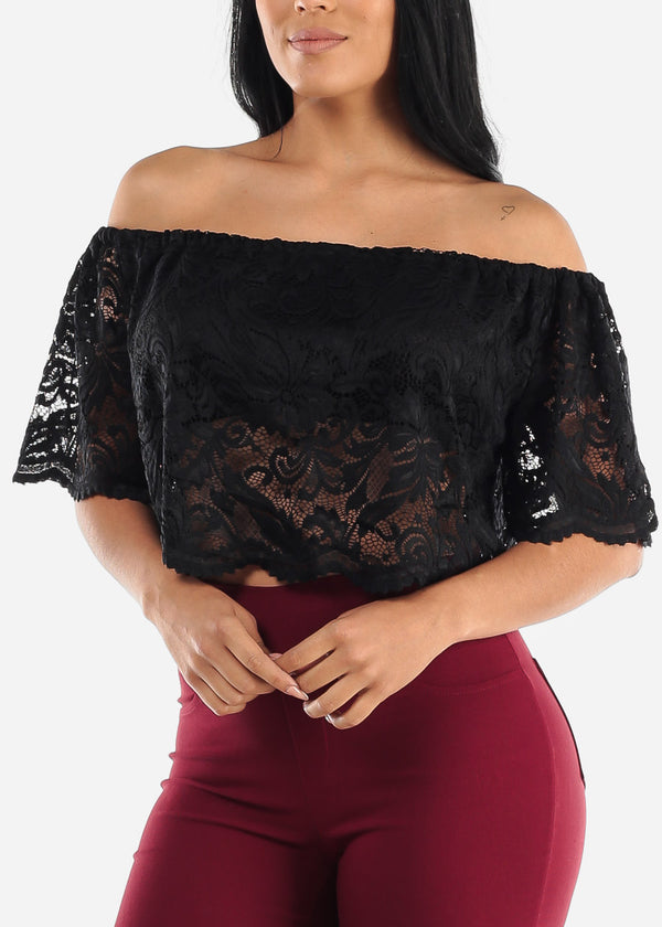 Black Off Shoulder Black Crop Top