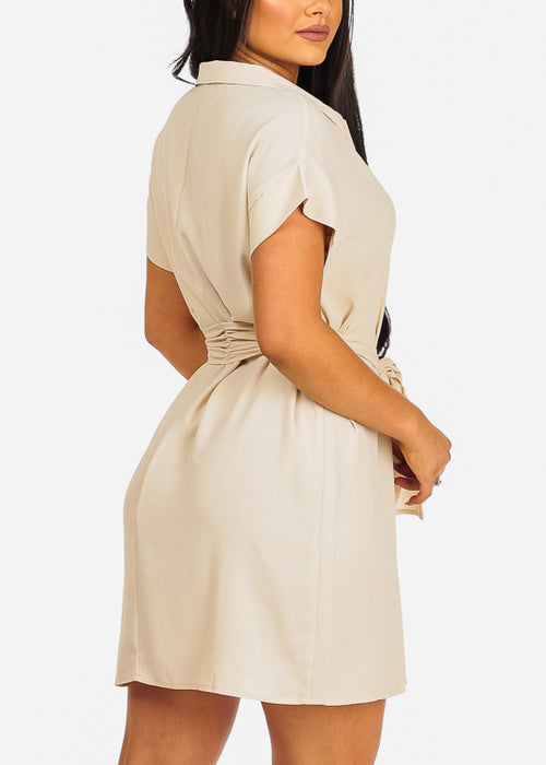 Cute Short Sleeve Button Up Tie Belt Beige Dress