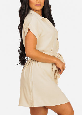 Image of Cute Short Sleeve Button Up Tie Belt Beige Dress
