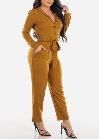 Dressy Button Up Gold Jumpsuit