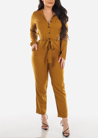 Image of Dressy Button Up Gold Jumpsuit