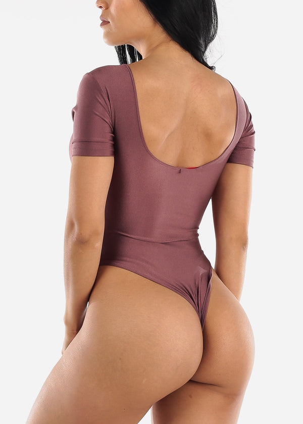 Sexy Satin Plum Bodysuit