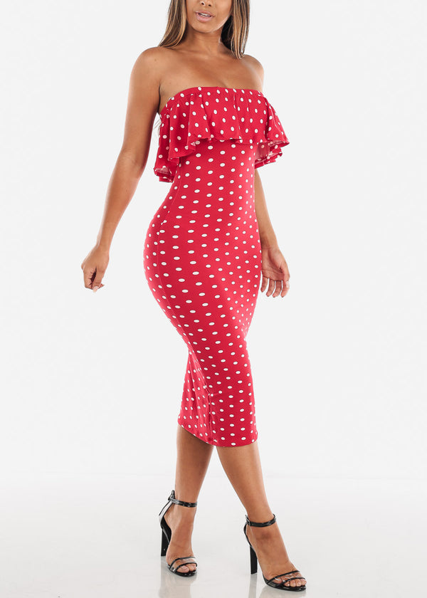 Polka Dot Red Bodycon Midi Dress