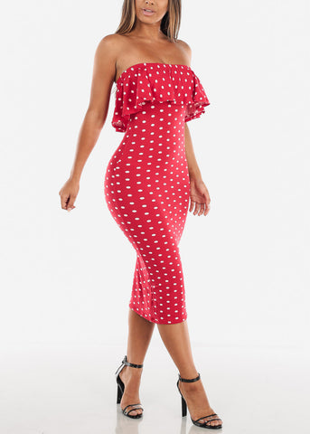 Women's Junior Ladies Cute Casual Must Have Tight Fitted Bodycon Strapless Ruffled Detail Polka Dot Midi Bodycon Stretchy Red Dress