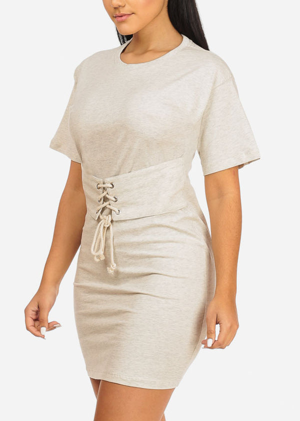 Oatmeal Lace Up Belt Dress