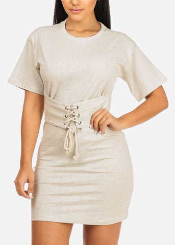 Image of Oatmeal Lace Up Belt Dress