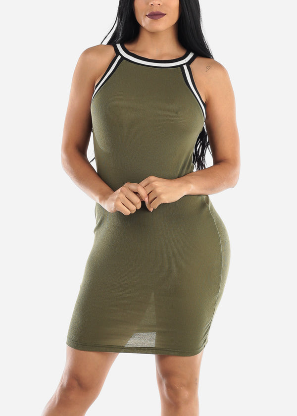 Sleeveless Olive High Neck Bodycon Dress