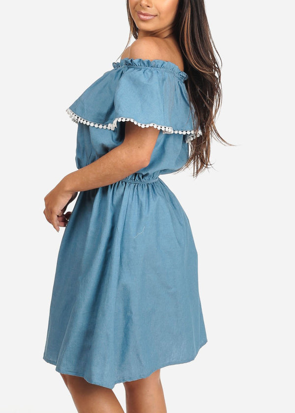 Off Shoulder Light Blue Wash Denim Dress