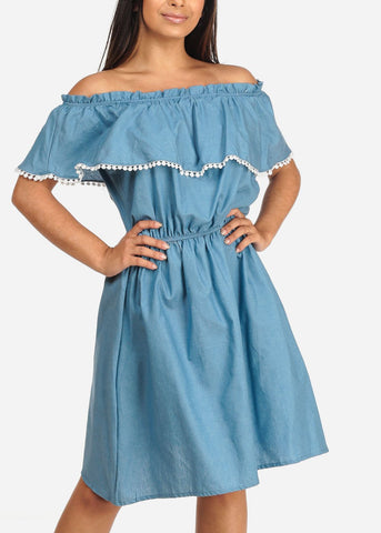 Image of Women's Junior Ladies Stylish Summer Going Out Brunch Beach Vacation Light Blue Denim Lightweight Off Shoulder Dress