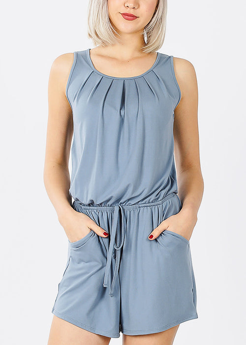 Sleeveless Elastic Waist Blue Grey Romper