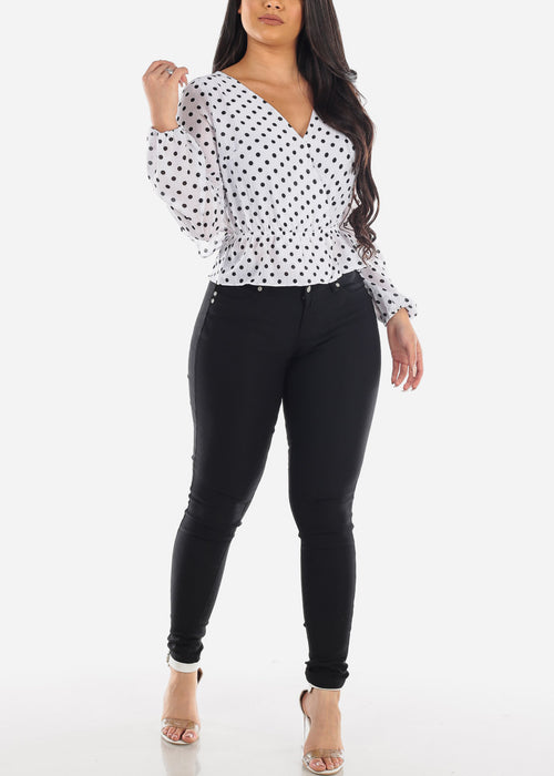 Sexy Open Back Wrap Front Long Sleeve White Polka Dot Blouse Top