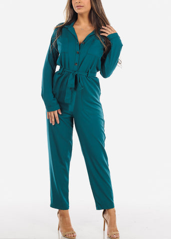 Teal Long Sleeve Button Down Jumpsuit