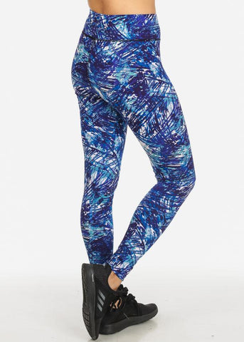 Activewear Stretchy Printed Blue Leggings