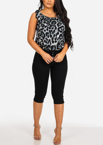 Women's Junior Ladies Sexy Lightweight Grey Animal Print Top