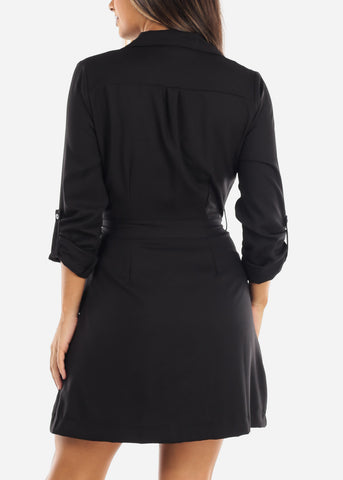 Image of Black Button Down Shirt Dress