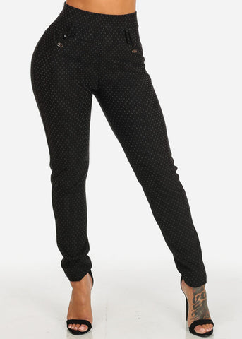 Print Black High Rise Elastic Waist Pants