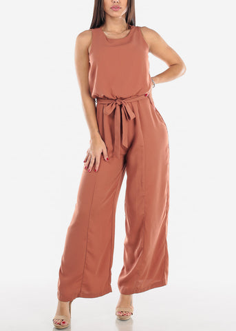 Image of Mauve Wide Leg Jumpsuit