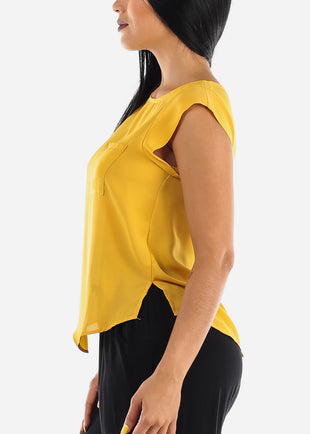 Single Pocket Lightweight Mustard Blouse