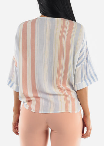 Blue Stripe Button Up Top