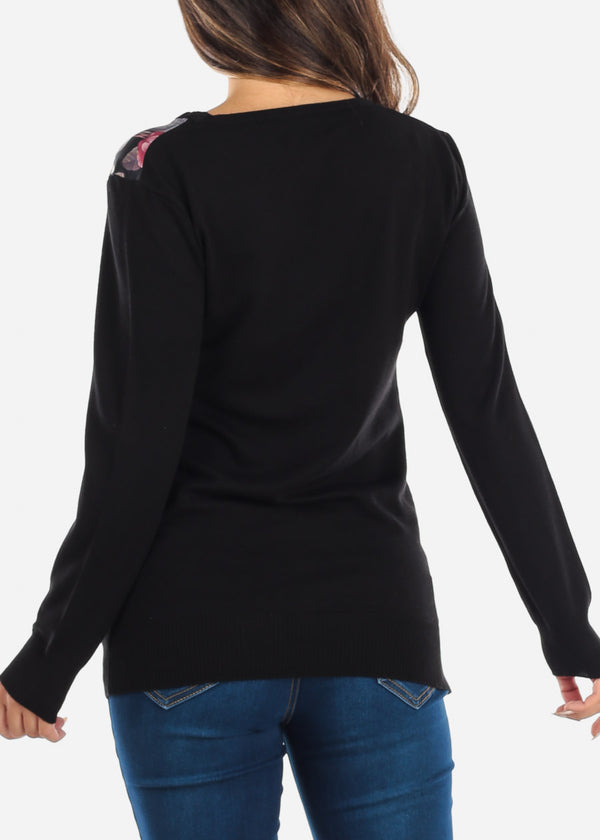 Floral Long Sleeve Black Sweatshirt