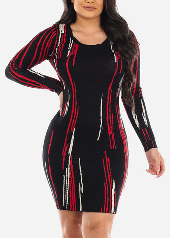 Image of Multicolor Black Sweater Dress