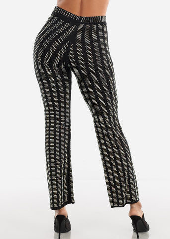 Rhinestone Wide Legged Black Pants