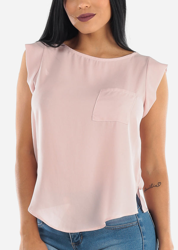 Single Pocket Lightweight Blush Blouse