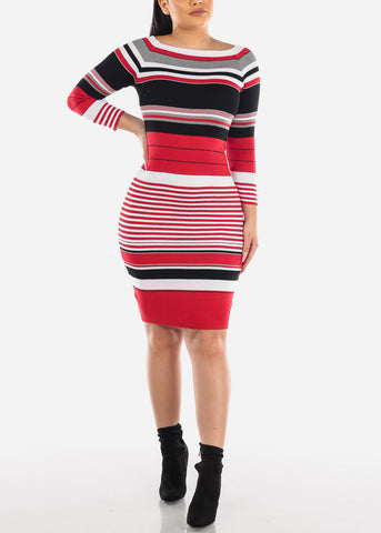 Image of Red Stripe Sweater Dress