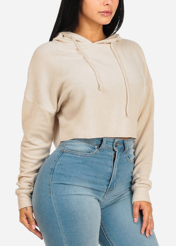 Beige Sweater Crop Top