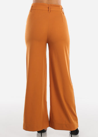 High Waisted Wide Leg Mustard Pants with Belt