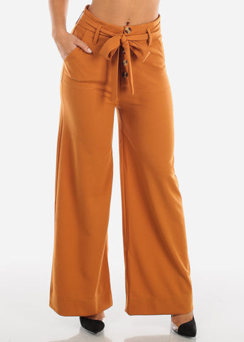 Image of High Rise Orange Trouser Palazzo Pants PWD7420